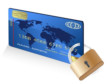 isolated credit card with lock from white Vector