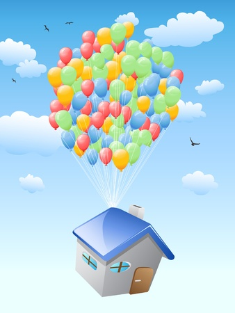 dwelling: house with balloons flying in the blue sky for real estate design