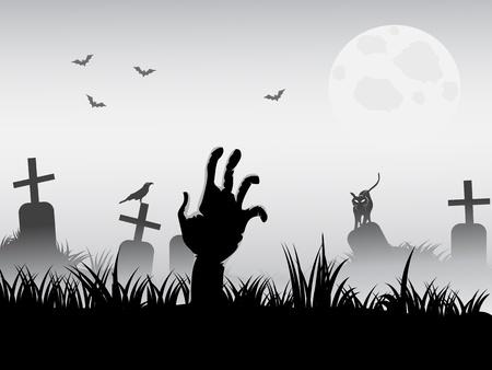 arracher: Zombie se r�veiller pour fond de halloween Illustration