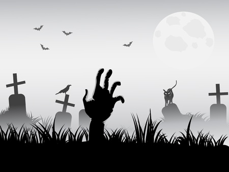 zombie waking for halloween background Stock Vector - 10473142