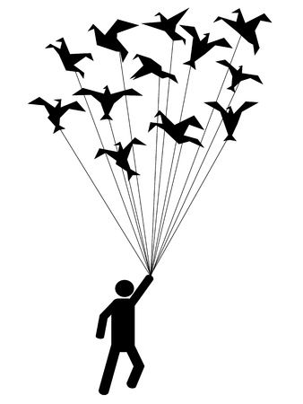 black and white line drawing: symbol people carried by flying paper birds