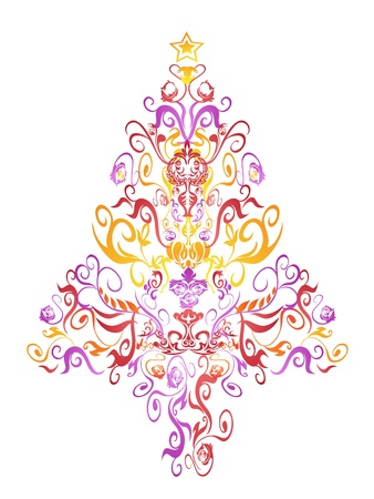 beautiful pattern christmas tree for Christmas holioday Stock Vector - 10473143