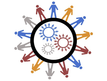 friendship circle: the working gear formed by symbol people around Illustration