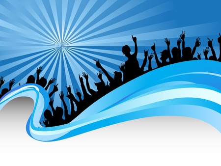 crowds on blue ray background Stock Vector - 10536891