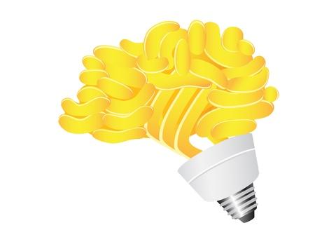 isolated brain Energy saving lightbulb on white background Vector