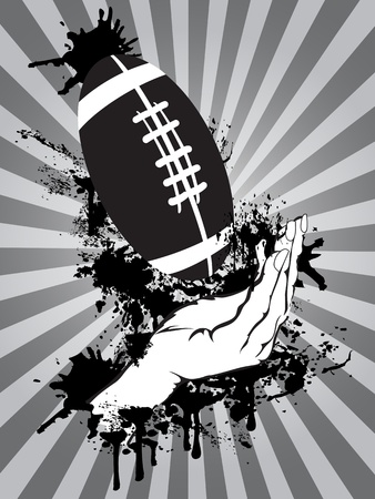 The grungy background of hands catching an American football  Vector