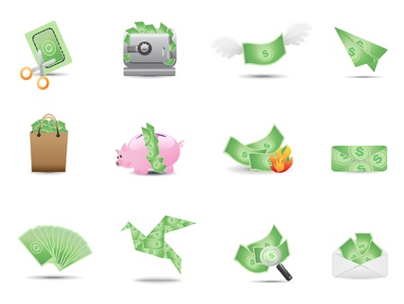 money icons set for design Vector