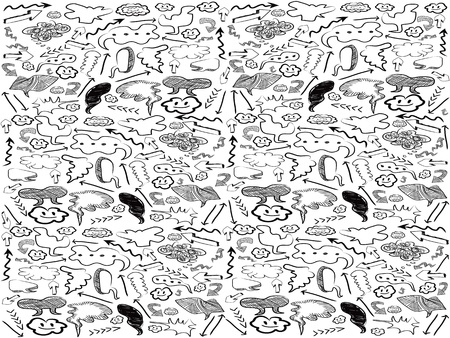 the seamless background of doodle speech bubbles and arrows  Vector