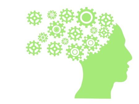 mente humana: separar rueda de engranaje de cabeza humana