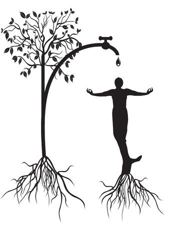 raices de plantas: el concepto de riego hombre arbol Vectores