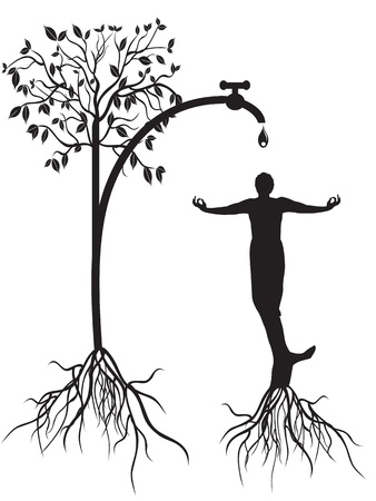 the concept of watering tree man