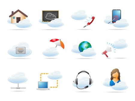 headset symbol: Cloud computing concept Icon for design Illustration