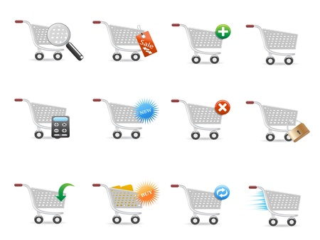 add to cart: shopping cart icon set for design Illustration