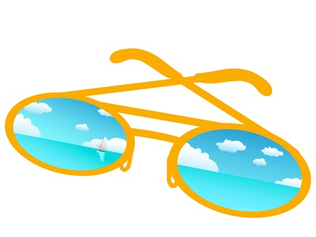 reflecting: Blue sky reflecting in sunglasses ,vector Illustration