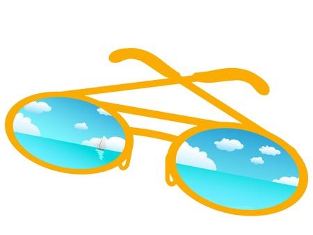 eyewear glasses: Blue sky reflecting in sunglasses ,vector Illustration