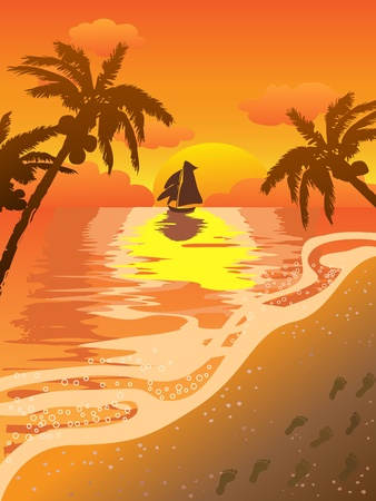 beautiful sunset seascape with footsteps on the beach Vector