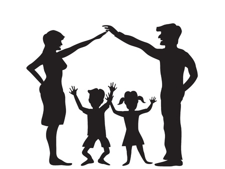 the Silhouette of family symbol Vector
