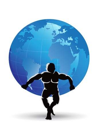 weight lifter: a straing man lifting the globe  Illustration