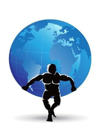 Atlas: ein Plastiksieb Mann heben den Globus Illustration