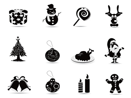 black christmas icon set for christmas holiday Vector