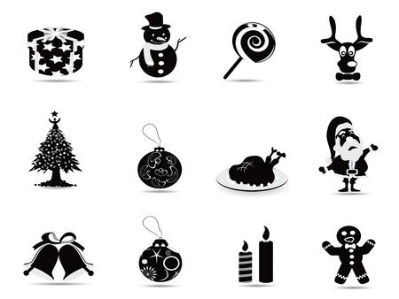 black christmas icon set for christmas holiday Vector
