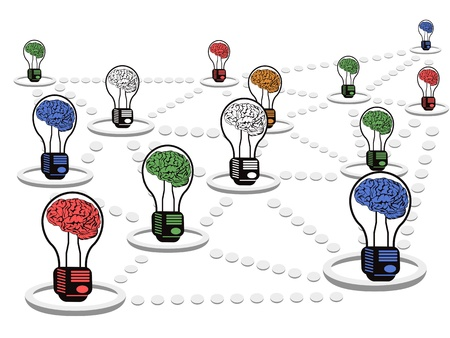 intelligence: net work group of brain light bulbs