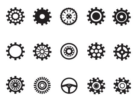 rueda dentada: vector silueta de engranajes de la m�quina para desigh Vectores