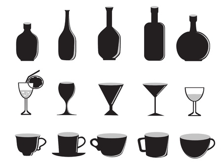martini glass: silhouette of glass bottles and cups Illustration
