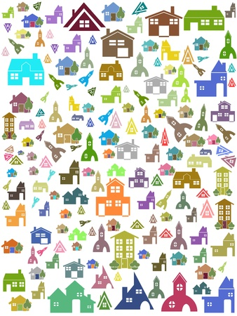 the seamless background of house pattern Stock Vector - 10770894