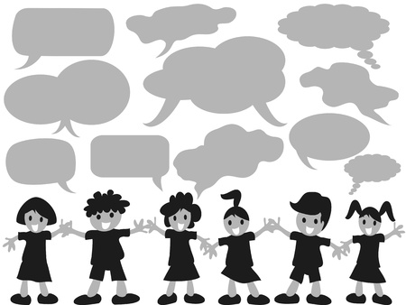 small group of object: happy kids with speech bubbles
