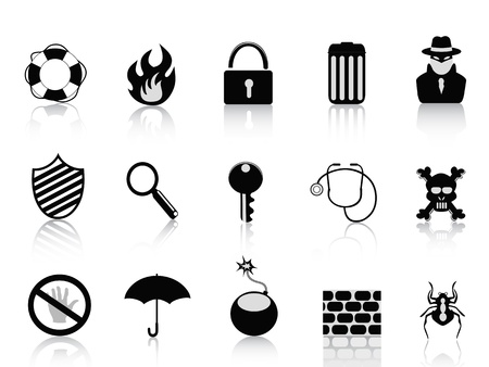 black security icon set for design Stock Vector - 10845954