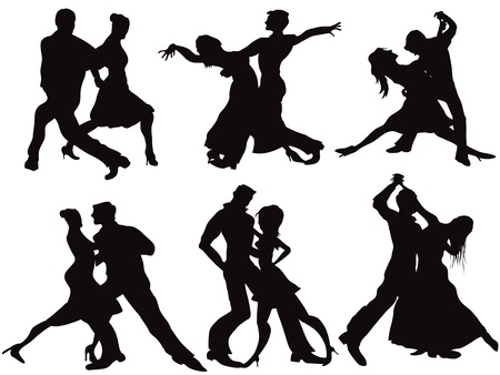 ballroom dancing: Silhouettes of the ballroom dancers