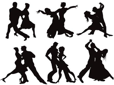 bailarines silueta: Siluetas de los bailarines de salón Vectores