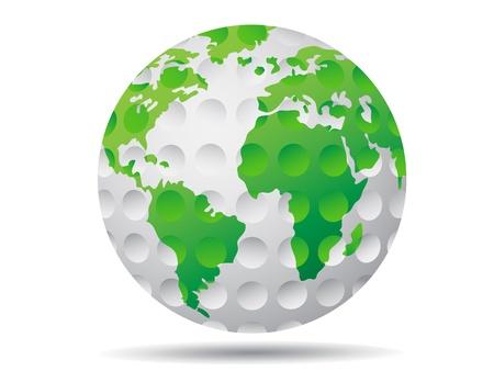 흰색 배경에 고립 된 골프 지구