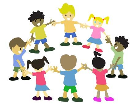 girotondo bambini: bambini mano nella mano intorno in cerchio Vettoriali