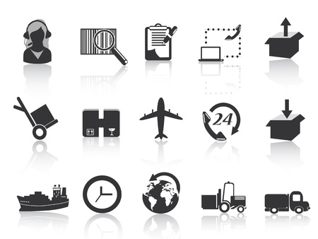 buen servicio: conjunto de iconos de la log�stica y el transporte mar�timo