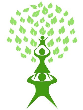 흰색 배경에 고립 된 녹색 나무 가족