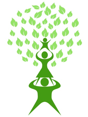 isolated green tree family on white background Vector