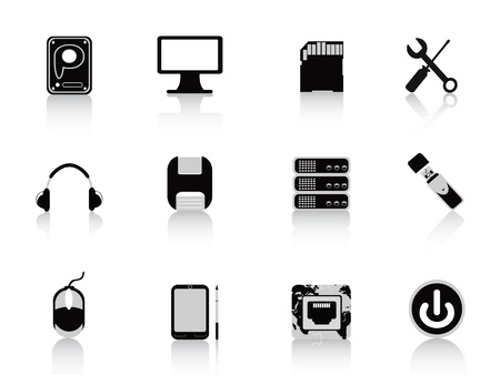 computer memory: black computer equipment icon set for design