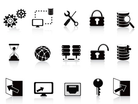 the set of black database and technology icon Stock Vector - 10932633