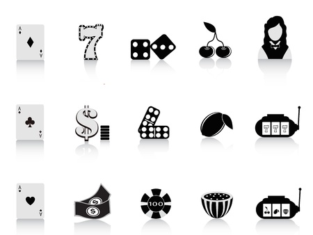 dices: black gambling icon set for design