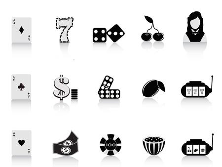 rolling dice: black gambling icon set for design