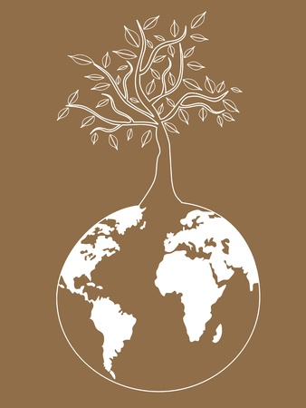 the background of  global tree for eco design Stock Vector - 10932634