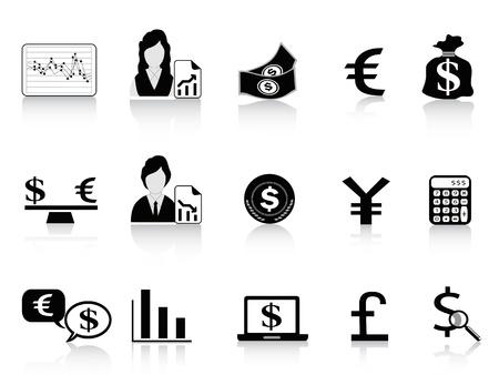 black Economy & Finance icons set Vector