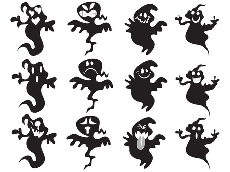 black and white image: black cute halloween ghost