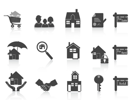 agente comercial: negro de bienes raíces conjunto de iconos para el diseño de bienes raíces Vectores