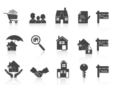 icone immobilier: noire v�ritable ensemble ic�ne de succession pour la conception de l'immobilier