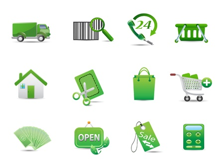 green ecology shopping ,business icon set Vector