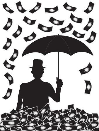 O homem com guarda-chuva e dinheiro que cai nele