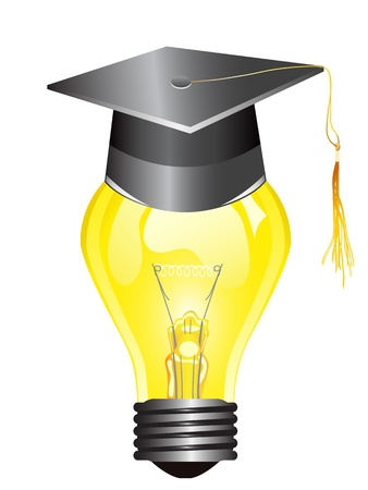smart light bulb with mortar board Vectores